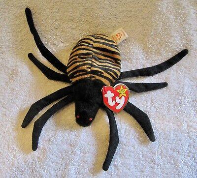 Vintage Retired Ty Beanie Baby SPINNER THE SPIDER 1996 MWMT Stuffed Animal Toy