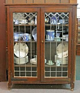 Details About Antique Mission Style Oak Bookcase Cabinet W Leaded Beveled Glass Doors