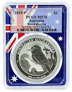 2019-Australia-1oz-Silver-Koookaburra-PCGS-MS70-Flag-Frame