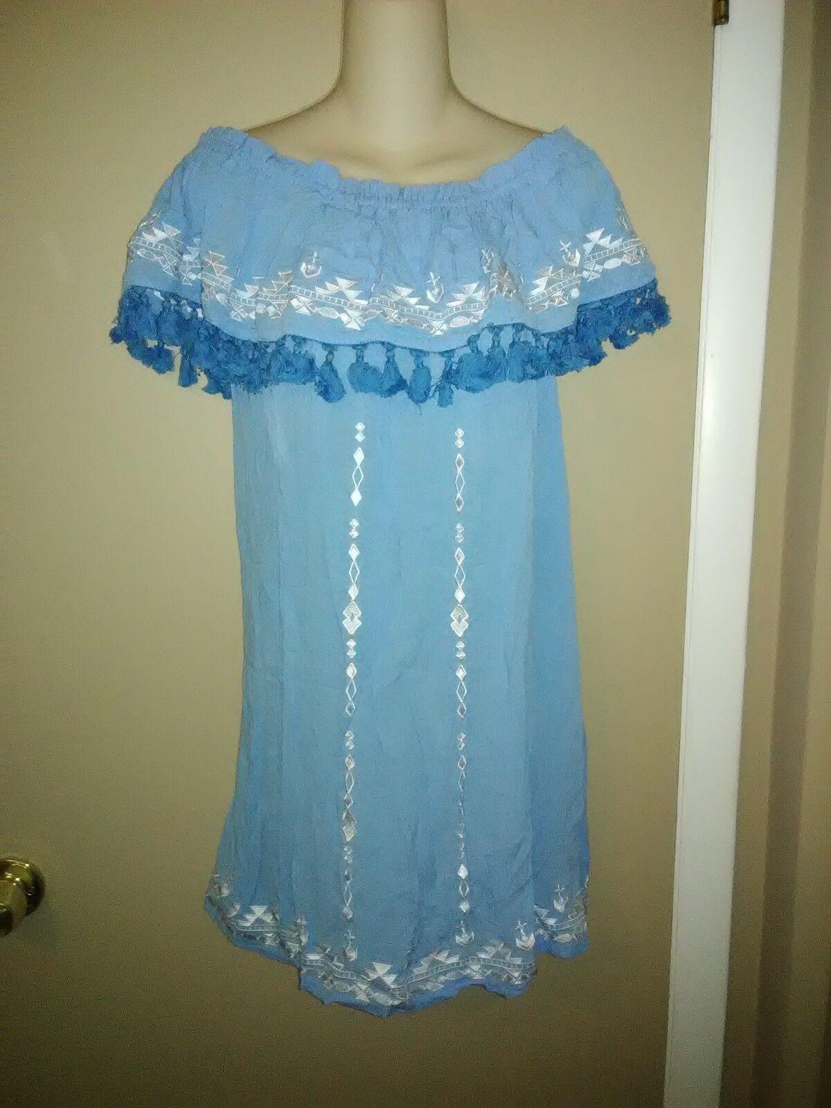 PARKER  Jeanette Jugara del hombro vestido azul onda tasssels-tamaño S (6) – Nuevo sin etiquetas  preferente