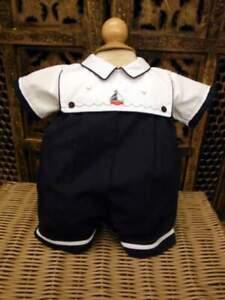 Will'beth NWT Infant Baby Boy Nautical Romper Navy White Sailboat 6m