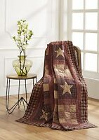 Olivia's Heartland Bradford Star Burgundy Country 9 Patch Hand Quilted Throw