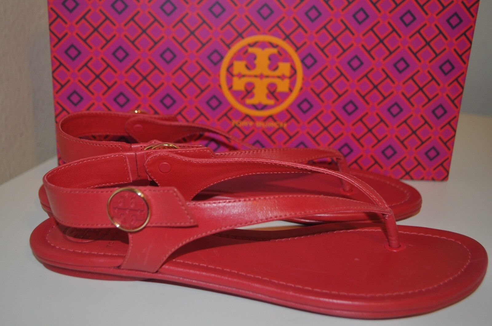 NIB  198+ Tory Burch MINNIE Travel Thong Sandal Nantucket RED Pelle Sz 7.5 M