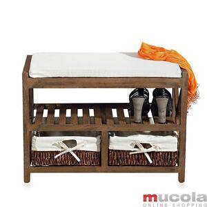 sitzkommode used look sitzpolster sitzbank flur bank truhe schuhregal vintage ne ebay. Black Bedroom Furniture Sets. Home Design Ideas