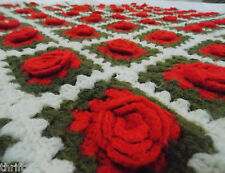Vintage 3D RED ROSE AFGHAN Handmade Crochet Square Granny Throw
