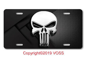 Punisher License Plate Car Auto Truck Suv Skull Tag Vanity Front Usa Silver 6x12 Ebay