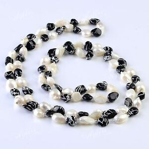 1-Strand-Natural-Freshwater-Pearl-Bead-9mm-Long-Style-Necklace-46-034-Free-Ship