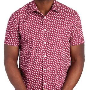 Tallia-Mens-S-S-Shirt-Red-Wine-Starburst-Size-XL-NWT