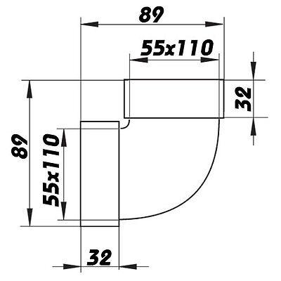 Flachkanal-Winkel 90°, Kniestück, Umlenkstück vertikal, Lüftungsrohr, Abluftrohr