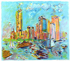 Wayne-ENSRUD-New-York-City-Harbor-Signed-Original-Lithograph