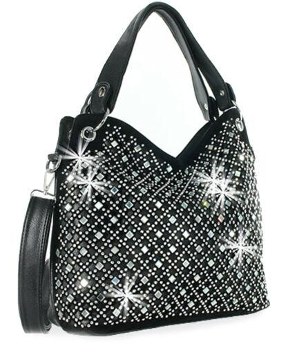 Mirror Rhinestone Bling Purse Sparkle Handbag Black B3169181-BK