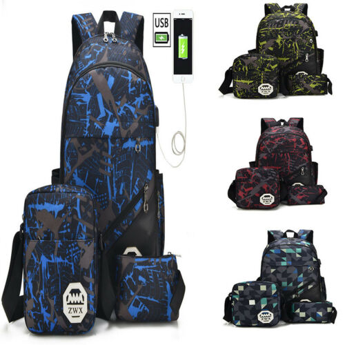 3pcs Boys School Bags Backpack for Teenagers Pencil Case Blue Book Bag Boy