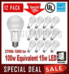 12-LED-Light-Bulbs-MAXLITE-15W-1600-Lumens-Soft-White-2700K-A19-E26-Dimmable