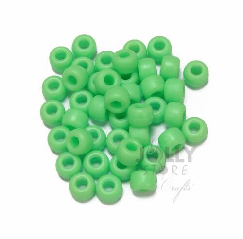 Flat Matte Lime 9x6mm USA made Pony Beads 500pc crafts kandi jewelry