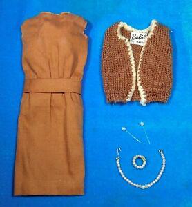 Vintage-Barbie-937-Sorority-Meeting-Cocoa-Dress-amp-Brown-Wool-Vest-1962-1963
