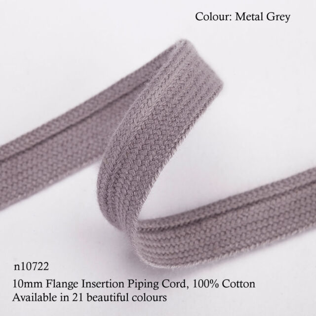 Neotrims 10mm Flange Insertion Binding Piping Cord, 100% Soft Cotton, 21 Colours