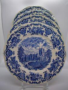 Enoch-Wedgwood-Dinner-Plates-Royal-Homes-of-Britain-Blue-Set-of-4