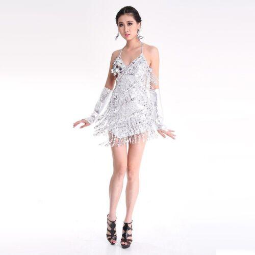 Pailletten Fransenkleid Rumba Latin Dance Kleid Quaste Ballsaal Kostüm Outfit