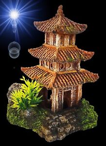 Aquarium-Deko-PAGODEN-HAUS-Asien-China-Terrarium-Dekoration-Zubehoer-Tempel