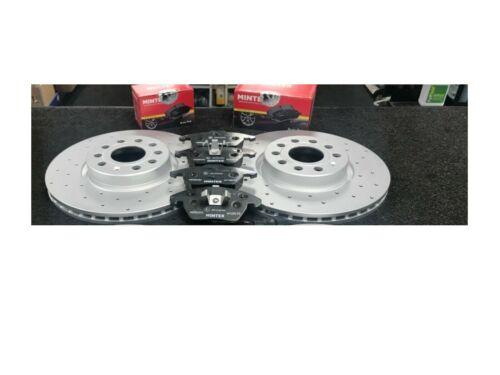 AUDI A3 2.0TDI SPORTBACK QUATTRO CROSS DRILLED BRAKE DISC MINTEX  PAD FRONT