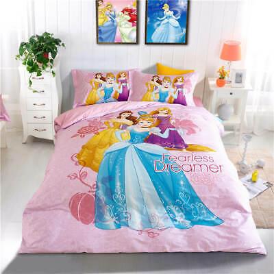 Disney Pink Princess Cartoon 3D Printed Bedding Set Kids Girl/'s Bedroom Decor Co