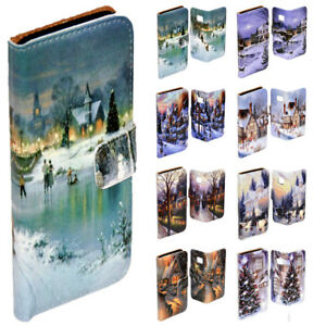 For-LG-Series-Mobile-Phone-White-Christmas-Print-Wallet-Flip-Case-Phone-Cover