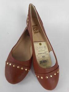 3cb046fecf85 Image is loading Women-039-s-l-e-i-Shoe-Brown-Gold-Studded-Flats-
