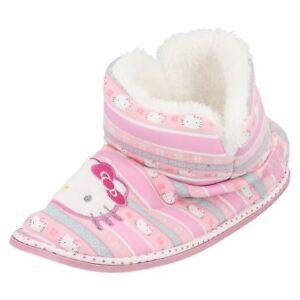 8948fe3e7ba Hello Kitty Filles Rose Textile Chaussons Bottines Doublé Fourrure ...