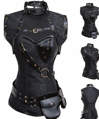 Retro Steampunk Boned Corset Black Leather Gothic Halloween Top with Jacket