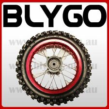 "RED 12mm Axle 3.00- 12"" Inch Rear Wheel Rim Knobby Tyre Tire PIT PRO Dirt Bike"