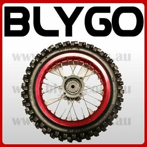 RED-15mm-Axle-3-00-12-Inch-Rear-Wheel-Rim-Knobby-Tyre-Tire-PIT-PRO-Dirt-Bike