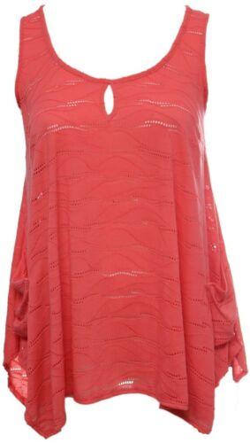 Womens Summer Orange Pointed Hanky Hem Droop Pockets Sleeveless Perforated Top