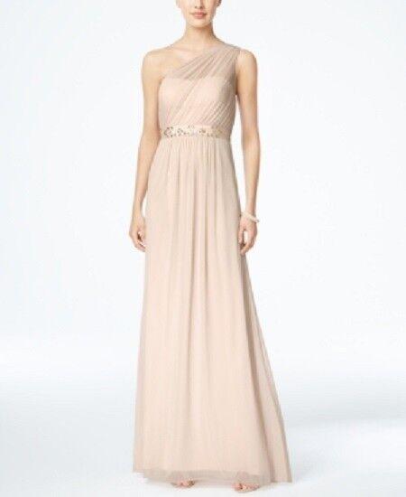ADRIANNA PAPELL damen Rosa Embellished One-Shoulder GOWN DRESS Größe 12
