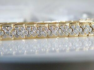 Ross-Simons-CHUNKY-Gold-Sterling-Silver-925-Diamond-Accent-Wide-Bracelet-7-5-034