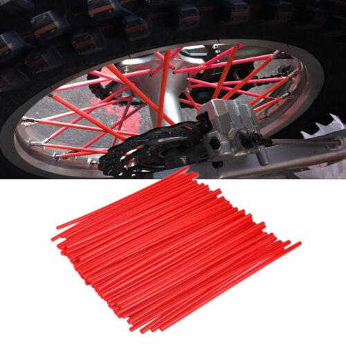 72x Motorrad Speichen Cover Tubes Rohr Überzug Wheel Spoke Rim Wraps Skins Rot