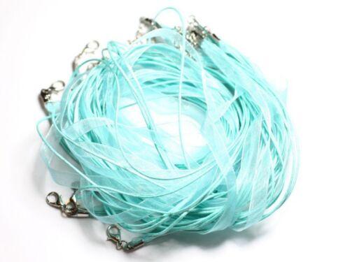 10pc Colliers Tours de cou Tissu Organza et Coton 45cm Bleu Turquoise 455855