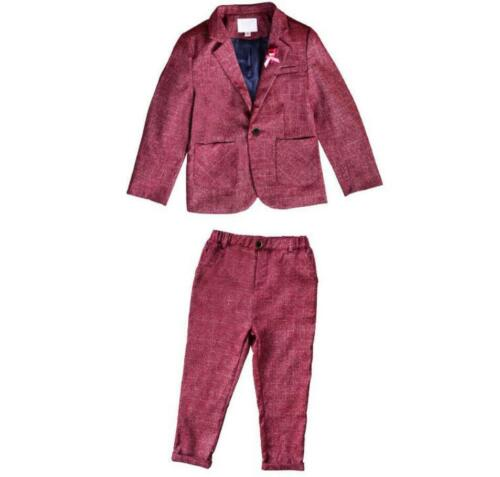 Kids Boys Suit Check Waistcoat Page Boy Prom Suits Wedding Formal Suit Outfits 9