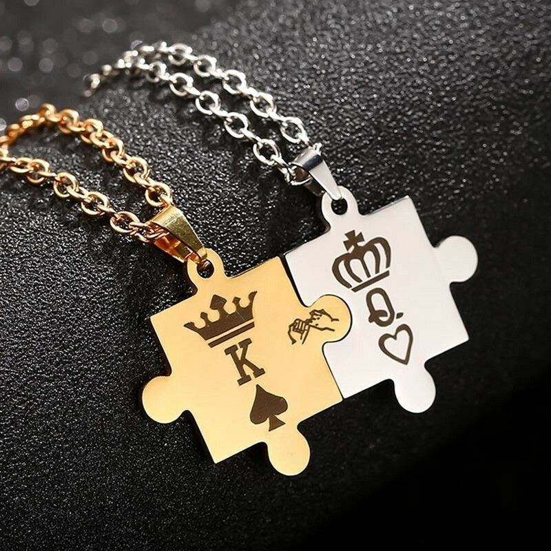 Stainless Steel His Queen Her King Couple Relationship Pendant Necklace QK 7