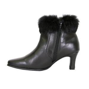 0626aaa8825f Details about FIC PEERAGE Venus Women Wide Width Leather Fur Collared Dress  Bootie