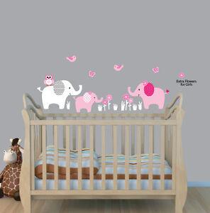 Three-Elephants-Decal-Elephant-Nursery-Wall-Sticker-Girls-Room-Wall-Art-Decor