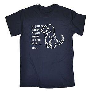 Si-vous-etes-heureux-Clap-your-hands-t-shirt-dinosaure-T-REX-DINO-anniversaire-Fashion-Cadeau