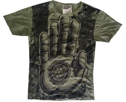 Nouveau Yoga Hommes T Shirt Buddha Ganesha Lotus Inde OM Palm Hobo coton M RARE sûr