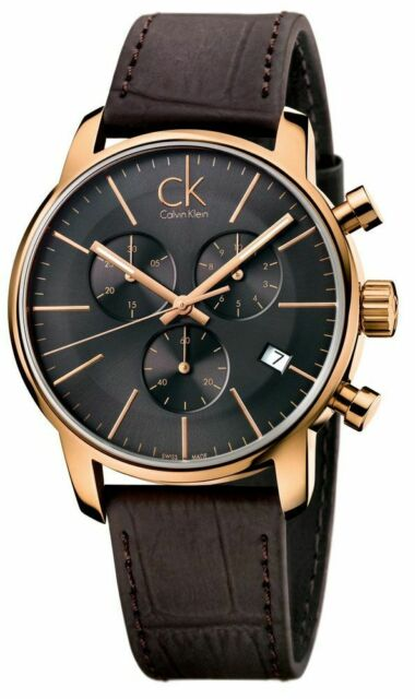 Calvin Klein Rose Gold Chronograph Brown Leather Strap Black Mens Watch K2G276G3