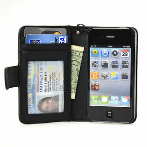 Navor-Folio-Wallet-Leather-iPhone-4-4S-Case-Money-Card-Pocket-Clear-Window-Black