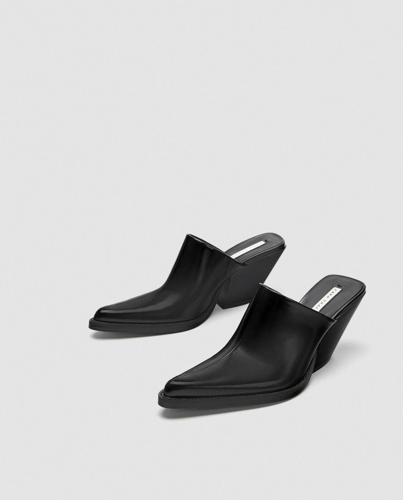 Zara New New New SS18 High Heel Clogs Black Size 6.5 NWT d2ead1