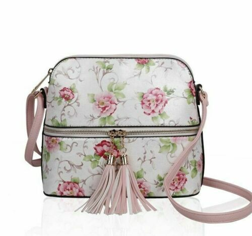 New Cute Floral Print Cross Body Bag With Tassel Zip Detail And Adjustable Strap