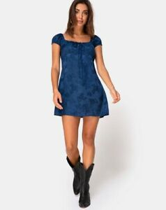 Gaval-Mini-Dress-in-Satin-Rose-Midnight-By-Motel-Size-L