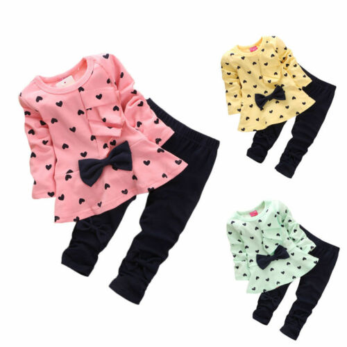 Toddler Baby Girls Minnie Mouse Outfit Clothes Winter Warm Tops Pants Set Casual