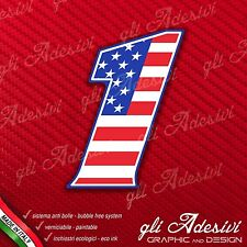 Adesivo Stickers NUMERO 1 moto auto cross gara USA Star & Stripes 5 cm