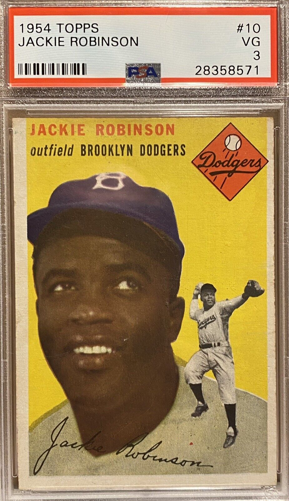 Image 1 - Jackie Robinson 1954 Topps #10 -Brooklyn Dodgers HOF - PSA 3 VG Very Good